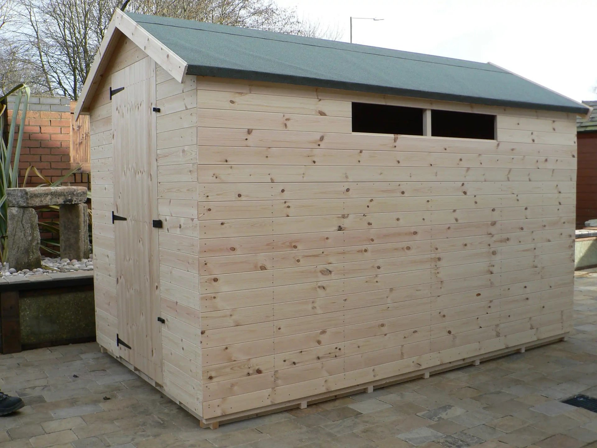 Sheds Manchester - 10' x 6' Apex Shed With Security Windows And The Door Hinged On The Left