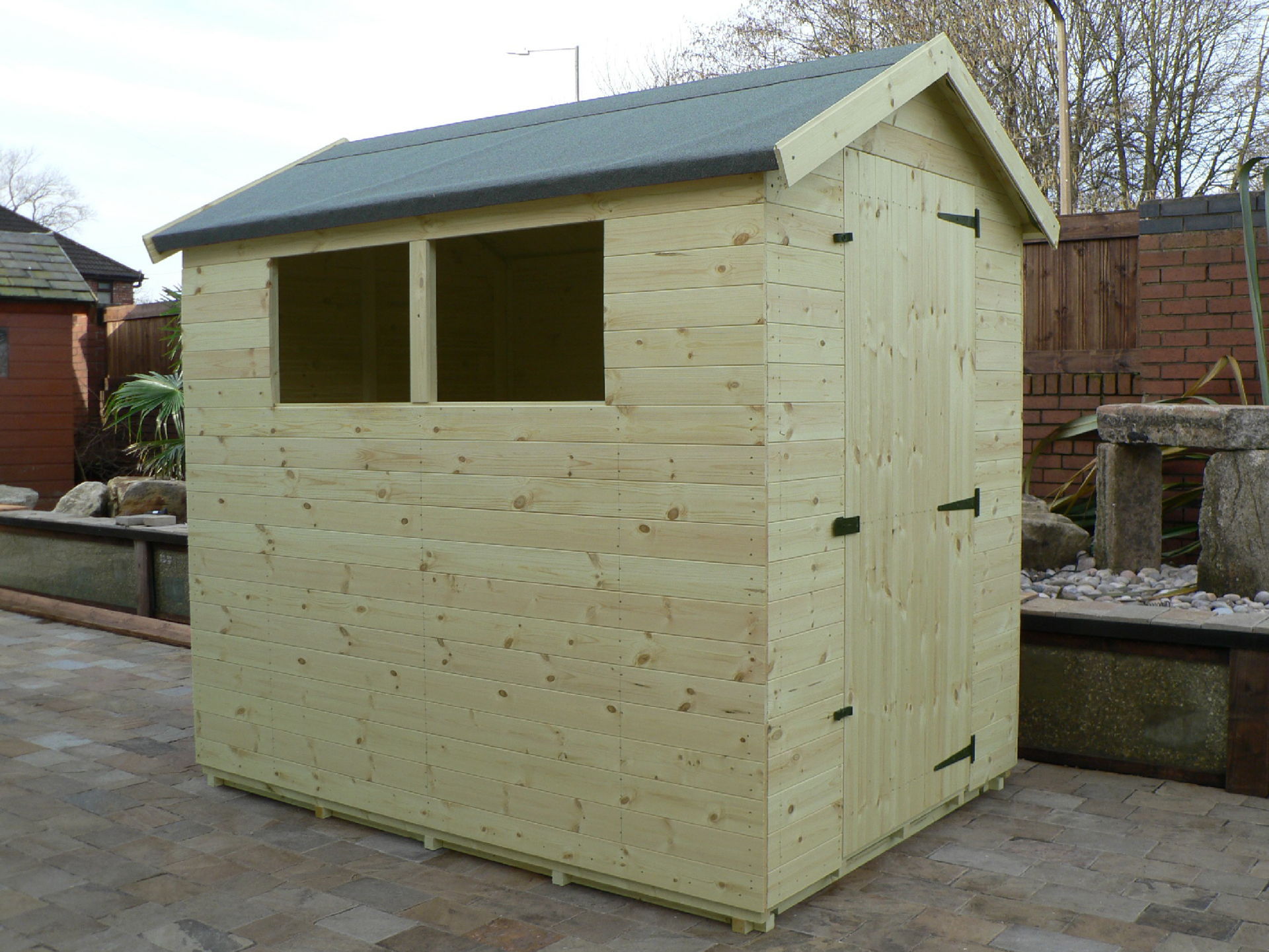 Pressure Treated 7' x 5' Apex Shed . Door On The Right Gable End