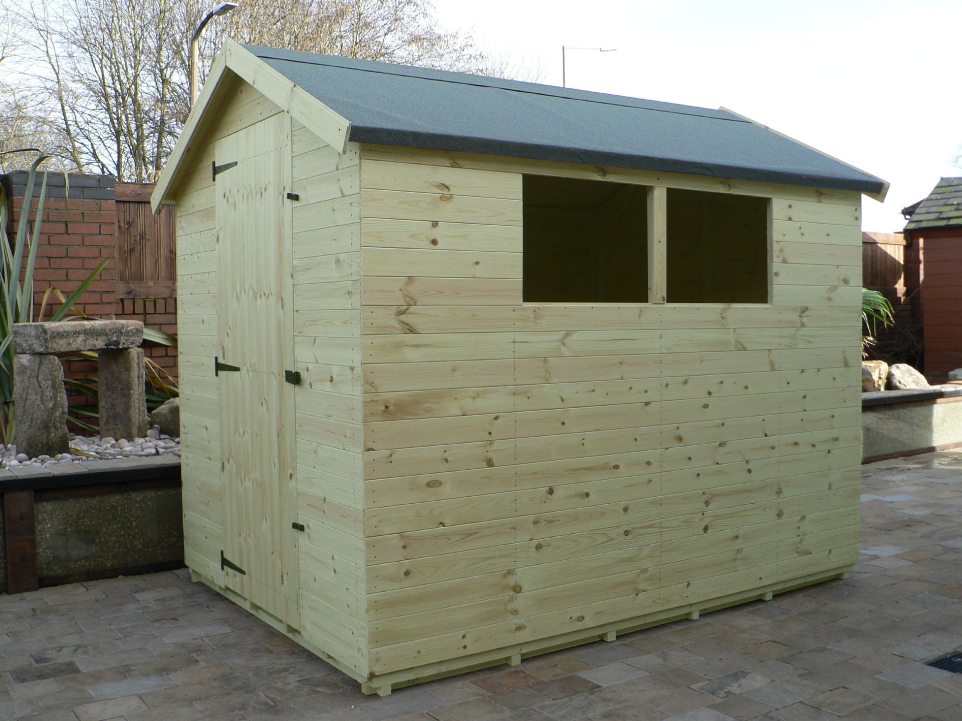 Sheds Manchester - Pressure Treated 8' x 6' Apex Shed . Door On The Left Gable End